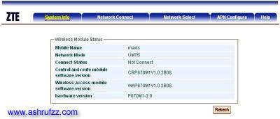 Maxis Wireless Broadband Admin Screenshot