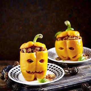 Jack O'Lantern Stuffed Peppers.