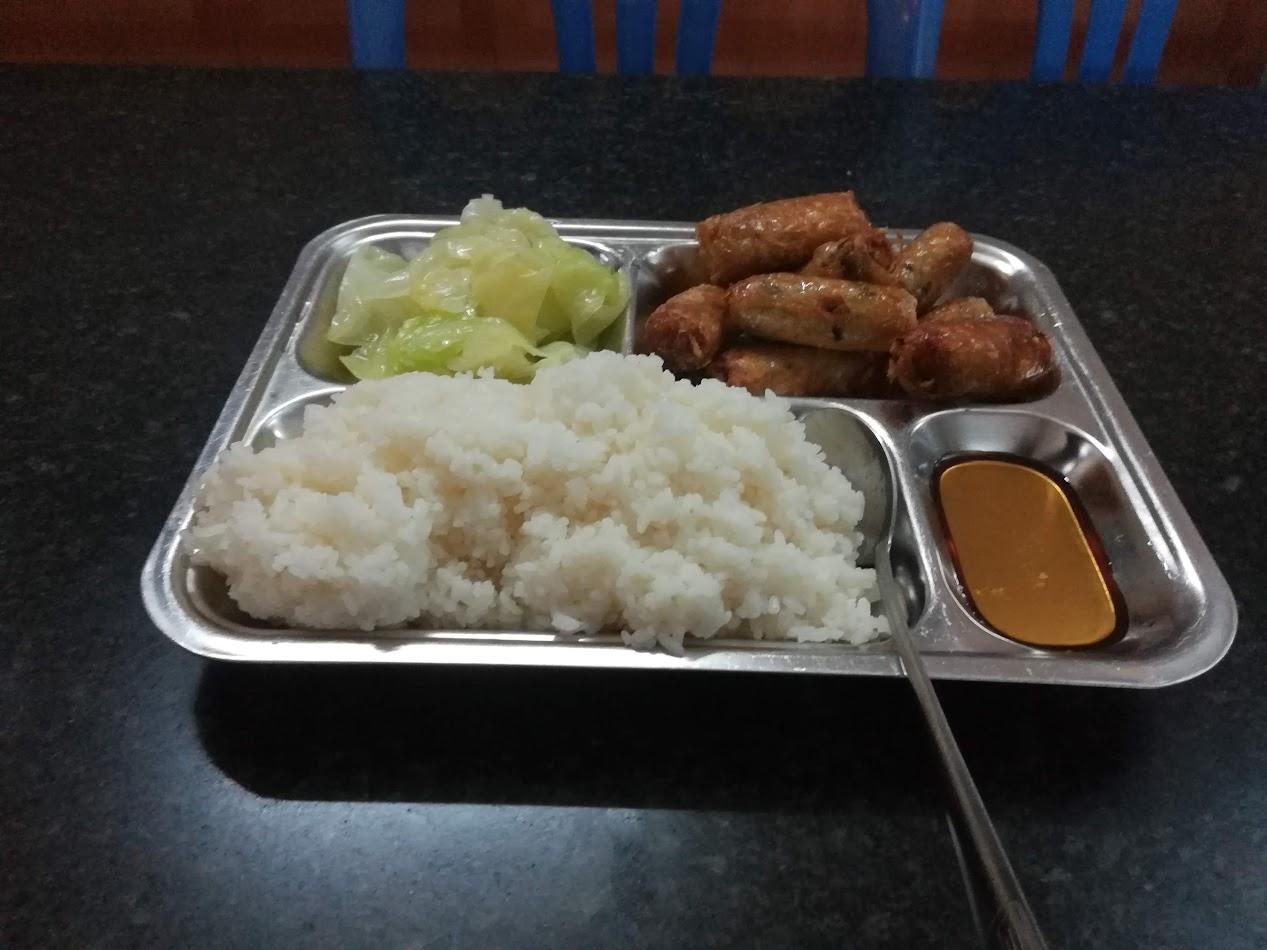 Middagen min. Frityrstekte vårruller servert med ris og kokt kål.