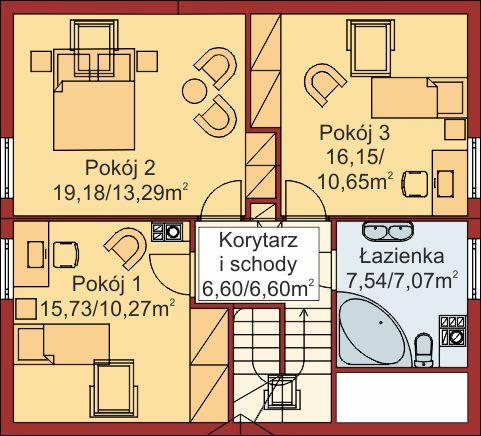 Domek Ciepły szkielet drewniany 012 BD - Rzut poddasza