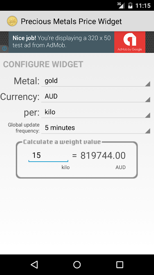 Precious Metals Price Widget- screenshot