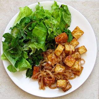 Tofu and Noodle with Sticky Plum Sauce.