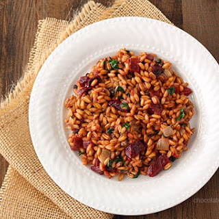 Beet, Spinach, and Goat Cheese Farro Risotto