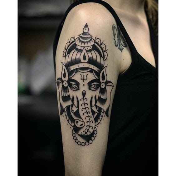 Ganesha tattoo design on half sleeve for women