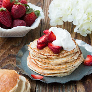 Skinny Strawberry Shortcake Gluten Free Pancakes