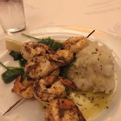Shrimp with mashed potatoes. Perfectly seasoned, loved it!