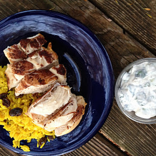 Cinnamon Baked Chicken with Raita Dipping Sauce and Golden Rice