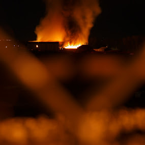The Flame Princess. by Andre Quintana - City,  Street & Park  Night ( night fire, night, building fire, tragic, smoke, fire )