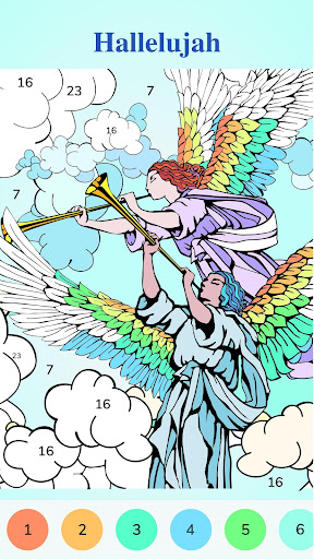 Screenshot for Bible Coloring - Paint by Number, Free Bible Games in United States Play Store