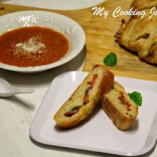 Tomato, Mozzarella and Basil Stuffed Baguette.