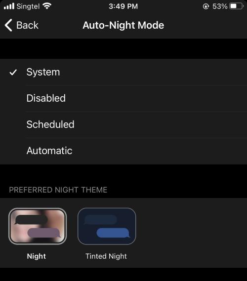 Enable auto-night mode on Telegram.
