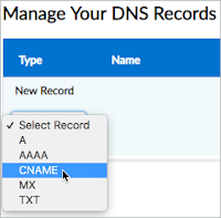 CNAME is selected from the Select Record drop-down list.