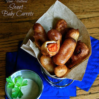 Beer-Battered Sweet Baby Carrots with Honey-Mustard Ranch Dipping Sauce.