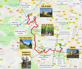 Photo: Itinéraire - e-guide de balade à vélo de Meudon à Sceaux par veloiledefrance.com - 14 km  Bike route - Bike ride e-guide from Meudon to Sceaux by veloiledefrance.com - 14 km