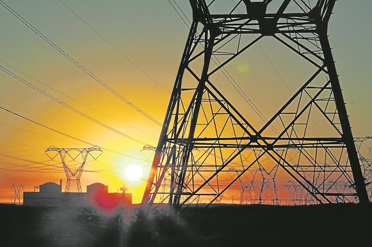 Eskom's national grid pylons carrying South Africa's electricity hum at sunset outside Koeberg nuclear power station near Melkbosstrand, 35km from Cape Town. Koeberg supplies all of the Western Cape's power.