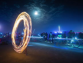 Photo: A fire dancer performs one evening on the white sands.  It was a still night and a full moon... a perfect situation for this sort of thing...