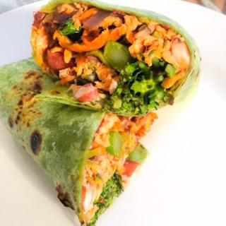 Salmon and Veggie Wrap.