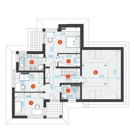 Z Fasonem 2 - Rzut piętra - wymiary szczegółowe
