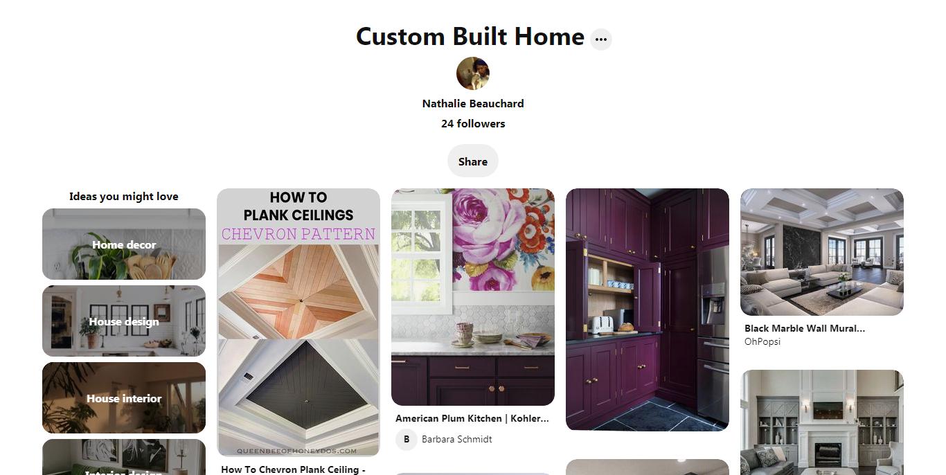 Custom Built Home Pinterest page