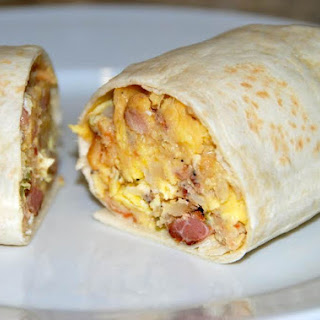 Bacon, Egg and Potato Breakfast Burritos.