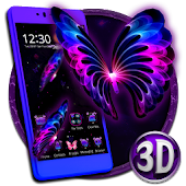 3D Neon Butterfly Galaxy Theme