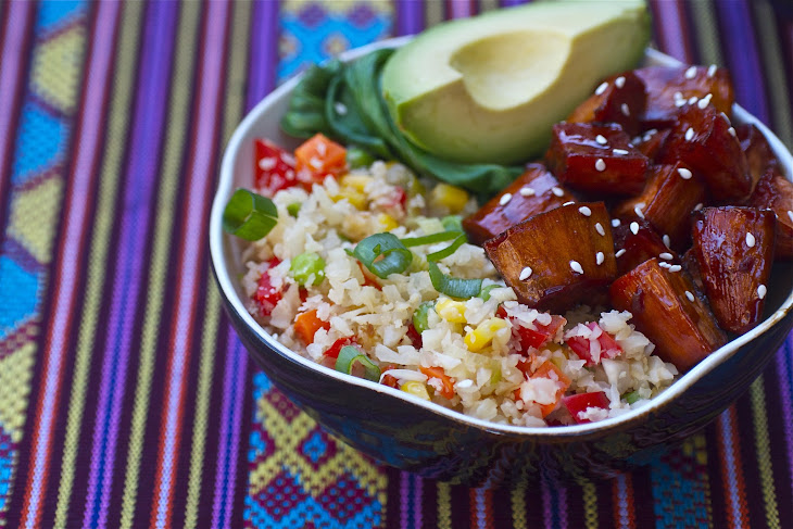 Roasted Maple Sesame Sweet Potatoes with Cauliflower Fried Rice Recipe