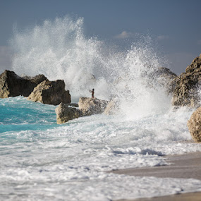 enjoy the sea by Alin Dobrin - Landscapes Beaches ( waves, greece, lefkada, beach,  )