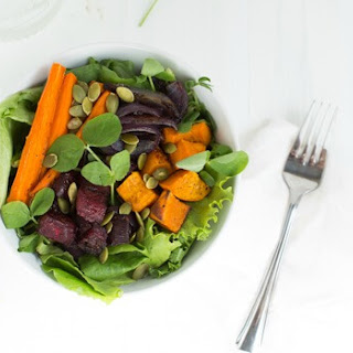 Roasted Winter Vegetable Salad with Maple Balsamic Dressing