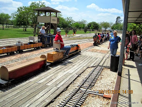 Photo: Brian Campopiano with BNSF 2008.   StationMaster Donna Greene at the right.        HALS Public Run Day 2014-0419 DH3
