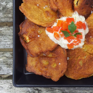 Curried Courgettes Fritters With Raita Sauce [vegetarian]