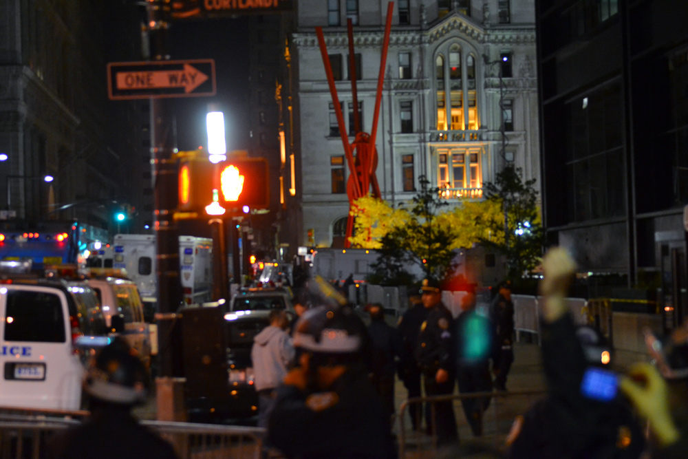 Photo: This was as close as anyone--legal observers, press, protesters, could get to Zuccotti Park as the eviction took place. You can see the park's red sculpture a block away.