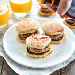 Buttermilk and Cinnamon Mini Pancake Sandwiches with Sausage.
