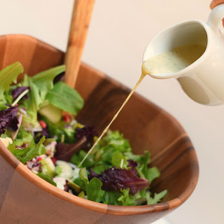 Pomegranate Pear Green Salad with Creamy Poppy Seed Dressing