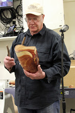 Photo: Bob Grudberg discusses his natural-edge cedar vase.