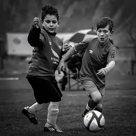Playing in the Rain - B&W by Garry Dosa - Sports & Fitness Soccer/Association football ( teams, ball, boys, outdoors, action, sports, children, running, soccer )