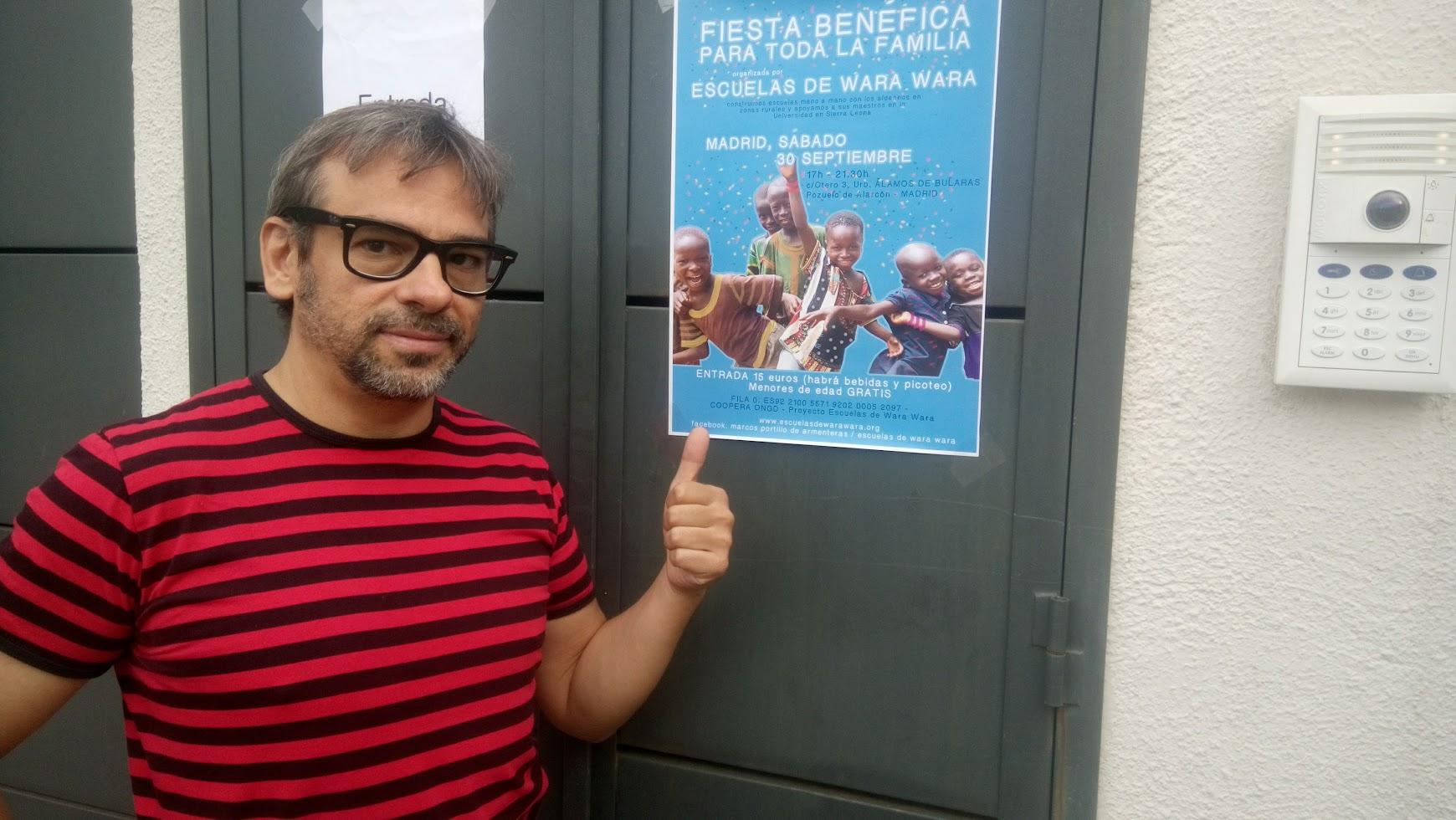 mago madrid y cartel fiesta benéfica escuelas wara wara 2017