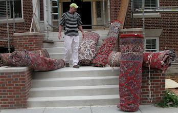 Photo: August 2006 - Month 36 - 3 years! Carpets arrive! (L to R) Electric BlueTabriz (Room 123), Dusty Rose Kashan (dining room), Ivory Esfahan (Room 121), Red Kerman (Saba living room), Rose Tabriz (Room 122) , Salmon Sarouk (living room)
