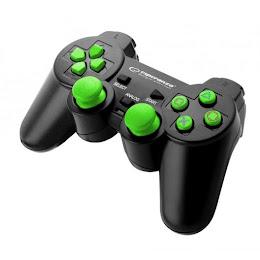 Set 2 x Controller Esperanza EGG107G Trooper cu vibratii, PC/PS3, Verde
