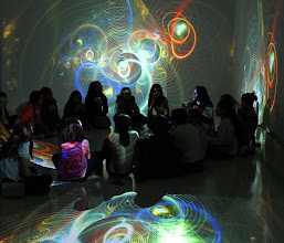 Photo: Generation 244 by Scott Draves. Students immersed in projection at Emoção Art.ficial Bienial, in São Paulo 2012.05.