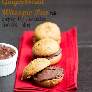 Gingerbread Whoopie Pies with Eggnog Dark Chocolate Ganache Filling