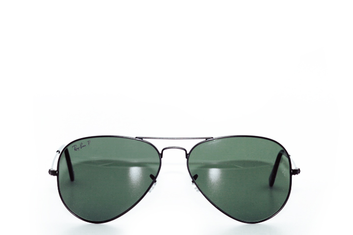 Ray Ban Aviator Black Green Polarized