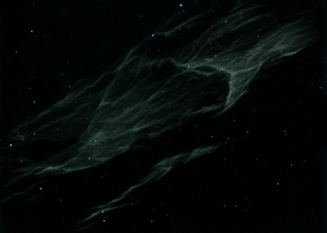 Photo: NGC 6992, la grande dentelle du Cygne, ou plutôt un tout petit bout de cette dentelle, vue au T1m de Stellarzac à 350X et filtre OIII. Pour situer cette parcelle dans la nébulosité, voir l'image précédente.