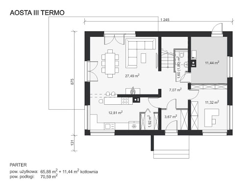 Aosta III Termo - Rzut parteru