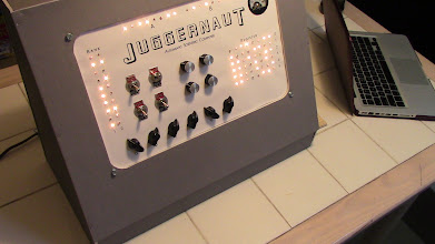Photo: Larry's incredible JUGGERNAUT console! The lights flash and everything.