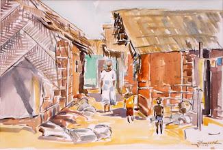 Photo: Akwida, aquarelle de Robert Jaccar #Africa #Ghana #Akwidaa #Busua http://www.ezilebay.com/ http://busuainn.com/ http://olivbusua.blogspot.com/