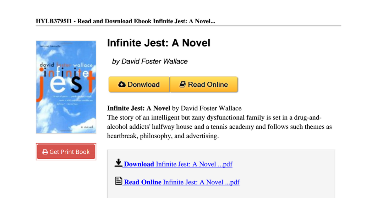 Infinite jest david foster wallace 0316921173pdf google drive fandeluxe Image collections