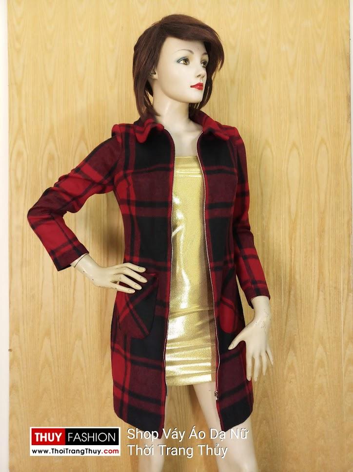 Áo váy dạ nữ dáng dài kẻ caro V649 hải phòng