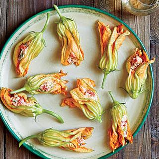 Pimiento Cheese-Stuffed Squash Blossoms.