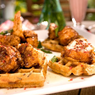 Fried Chicken and Wild Rice Waffles with Pink Peppercorn Sauce.