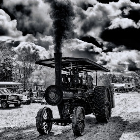 Old Steam Tractor by Scott Bryan - Black & White Objects & Still Life ( clouds, old, sky, monochrome, black and white, tractor, iron, steam )